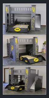 Bunk Bed With Slide Out Bed Custom Batman Bed With Slide Storage Towers Pull