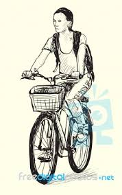 sketch of a woman riding bicycle free hand drawing illustration
