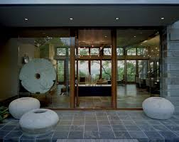 Glass Garment Ornament Entry Contemporary With Stone Exterior