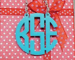 monogrammed pendant monogram necklace etsy