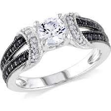 sapphire studios black moissanite white and silver engagement rings