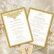 gold wedding programs wedding program fan gold wedding template shop