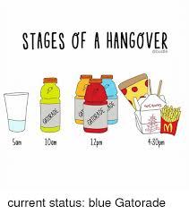 Gatorade Meme - stages of a hangover sam 0am 2pm 430pm current status blue