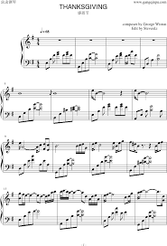 piano sheet thanksgiving 演奏版 感恩节 george winston www