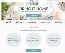 home design credit card retailers wayfair store credit card review 40 off special financing