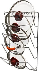 kitchen cabinet door pot and pan lid rack organizer decobros wall door mounted pot lid rack chrome finish