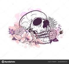 skull with roses stock vector lviktoria25 160368720