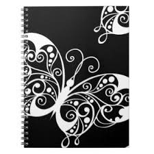 black and white butterfly spiral notebook black and white
