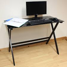 Glass Top Computer Desks by Hartleys Home Office Study 110cm Black Glass Top Computer Pc