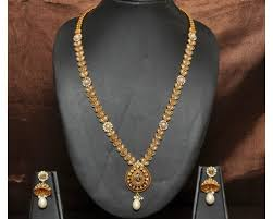 long necklace images Antique pearl kundan long necklace jpg