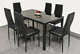 black glass kitchen table designer style black glass dining table set with 6 faux leather