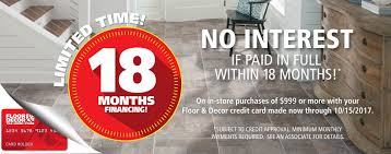 credit center floor decor special financing