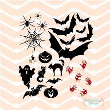 halloween spiders web bat pumpkin ghost bloody hands cat window
