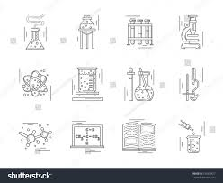 collection linear vector icons signs chemistry stock vector