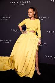 yellow dress rihanna s yellow oscar de la renta dress at fenty beauty
