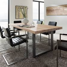 Textured Up Close Treviso Solid Oak  Metal Dining Table Reno - Metal dining room tables