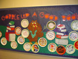 thanksgiving bulletin board display book titles are on plates