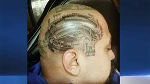 raiders dodgers fan gets detailed head tattoos nbc bay area