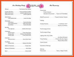 wedding program format wedding program template program format