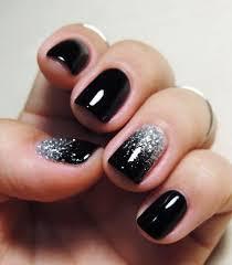 Black Manicure Designs 25 Black Nail Designs Black Nails Silver Glitter And