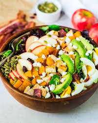 thanksgiving side salads harvest cobb salad with butternut squash apples and cranberries