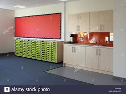 wet area in a classroom shows sink and kitchen style