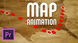draw an animated travel line on map premiere pro free template