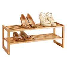 Container Store Shoe Cabinet 2 Tier Bamboo Stackable Shoe Shelf The Container Store