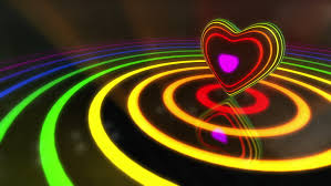 multi colored strobe light shiny funky colorful heart with glowing stripes and rings flashing