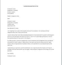 resignation letter for nurses sample nurse resignation