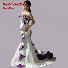purple white wedding dress wedding dress with purple neckline white