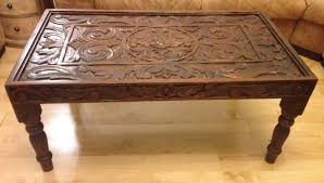 carved wood coffee table carved wooden coffee table glass top in falkirk gumtree