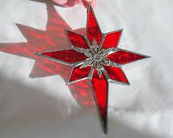 red stained glass star suncatcher ornament stained glass art home