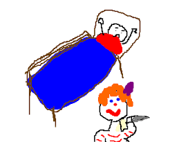 Drawing Of A Bed It The Clown Is Under A Kids Bed Drawing By Jordan3776