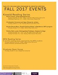 New York City 2017 Event Calendar Master Of Fine Arts In Creative Writing The City College Of New York