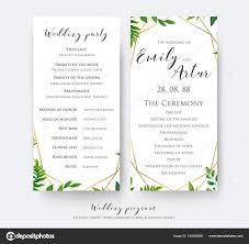 wedding program card stock wedding program card for ceremony and party with modern vector