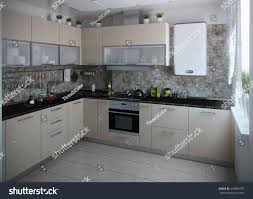 Modern Kitchen Interior Modern Kitchen Interior Conservative Tones 3d Stock Illustration