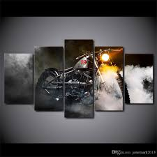 motorcycle home decor 2018 canvas art vintage motorcycle smoke hd printed home decor