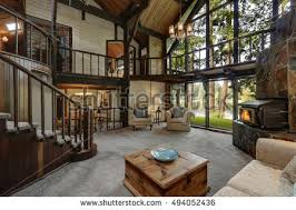 cottage house modern wooden cottage house interior living stock photo 494052436