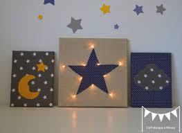 tableau chambre bébé tableau veilleuse étoile nuage lune décoration chambre bébé jaune