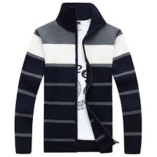 sweater mens winter casual stand collar sweaters mens stripe knitted