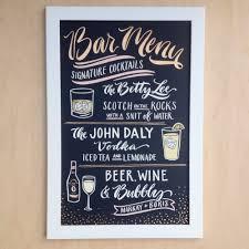 bar menu with signature cocktails wedding reception pinterest