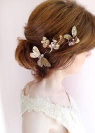flowers for hair fleur 3 gold floral hair pins