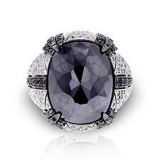 large silver rings images Large black spinel ring in 14k white gold plated over sterling jpg