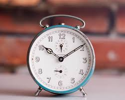 blue german alarm clock junghans desk clock mechanical