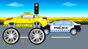 monster truck video for kids taxi monster truck vs police car video for kids youtube