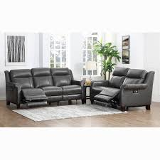 alex grey premium top grain leather power reclining sofa and