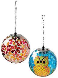 Gazing Ball And Stand Solar Mosaic Hanging Ball Mosaic Glass Gardeners Com