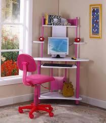 Kid Computer Desk Brand Pink Finish Corner Workstation