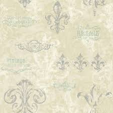 york sure strip beige fleur de lis removable wallpaper 6f125